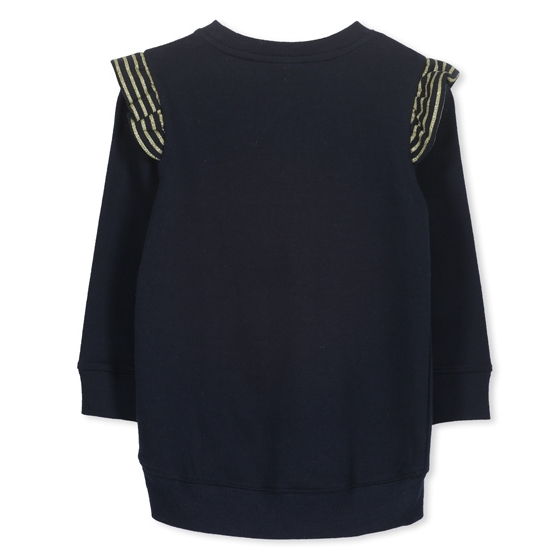 Milky Glitter Frill Sweat - navy