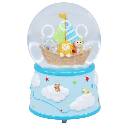 Pink Poppy Baby Musical Snow Globe - Blue