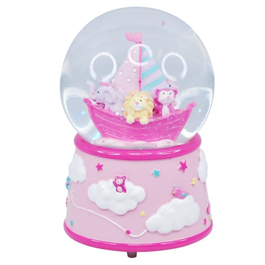 Pink Poppy Baby Musical Snow Globe - Pale Pink