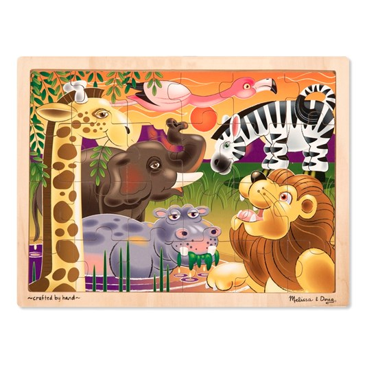 Melissa & Doug African Plains Wooden  Jigsaw (24Pc)