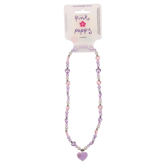Pink Poppy Butterfly Frosted Bead Necklace