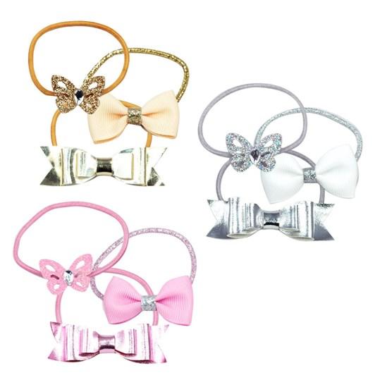 Pink Poppy Butterflies & Bows Hair Elastic Set