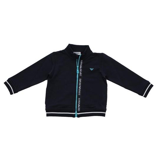 Emporio Armani Cotton Stretch Sweatshirt with Contrasting Zipper and Logo
