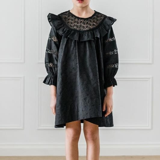 Petite Amalie Embroidered Dot Lace Yoke Dress