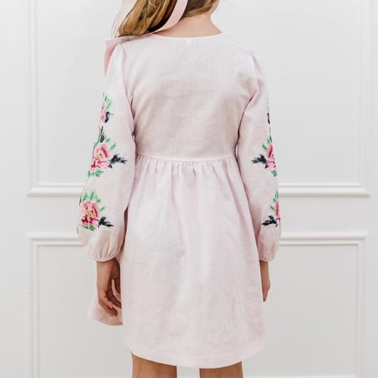 Petite Amalie Embroidered Sleeve Linen Dress