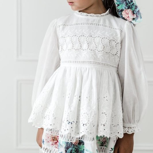 Petite Amalie Embroidered Baby Doll Top