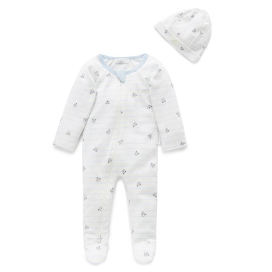 Purebaby Zip Growsuit And Hat Pack