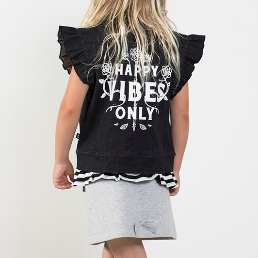 Hello Stranger Happy Vibes Denim Frill Vest
