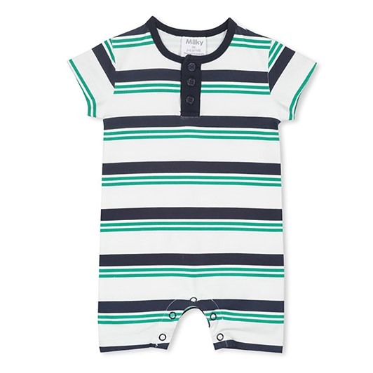 Milky Green Stripe Romper