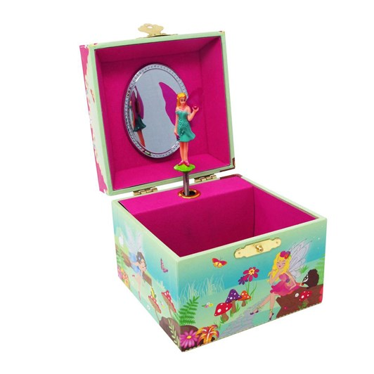 Pink Poppy Forest Fairy Small Music Box - Green