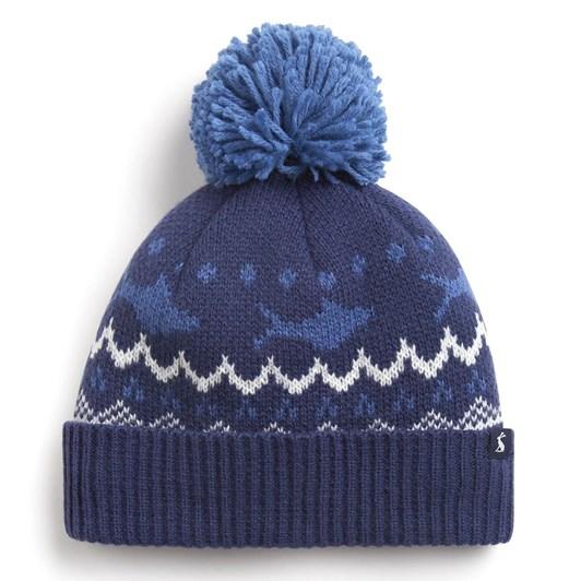 Joules Toasty Knitted Shark Fairisle Hat
