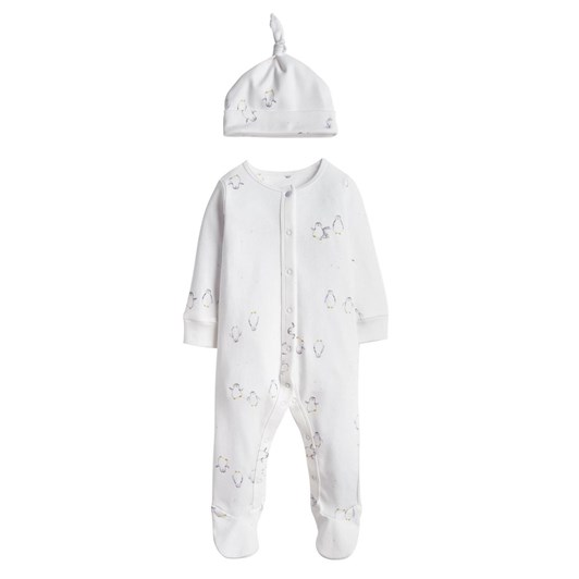 Joules Yule Printed Babygrow And Hat Set Nb-12 Months
