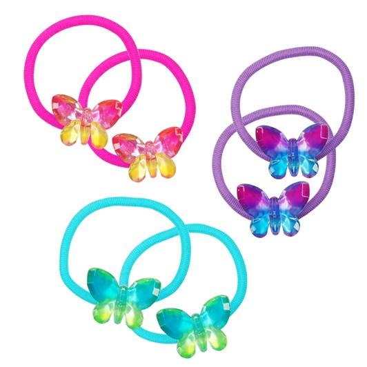 Pink Poppy Ombre Butterfly Hair Elastics