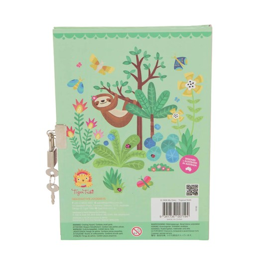 Tiger Tribe Lockable Diary- Tropical Sloth