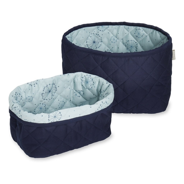 Cam Cam Quilted Storage Basket Set Of Two - 19-navy