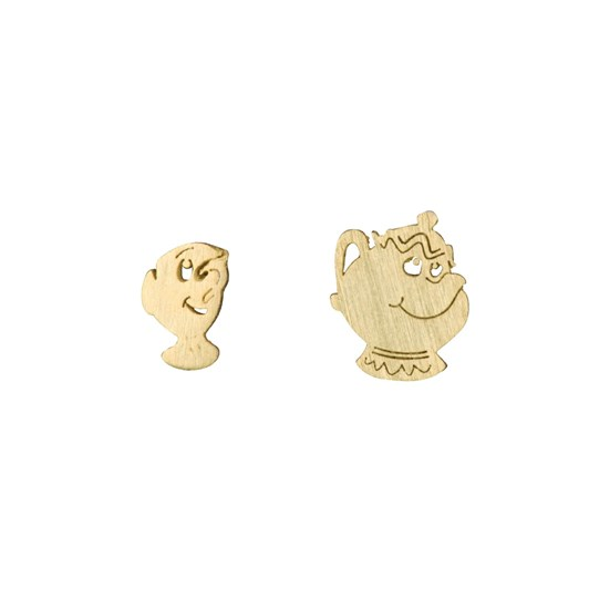 Short Story Disney Earring Belle Mrs Potts And Chip Gold