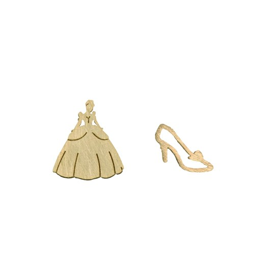 Short Story Disney Earring Cinderella Dress And Shoe Gold