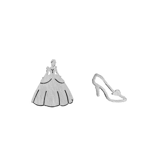 Short Story Disney Earring Cinderella Dress And Shoe Silver