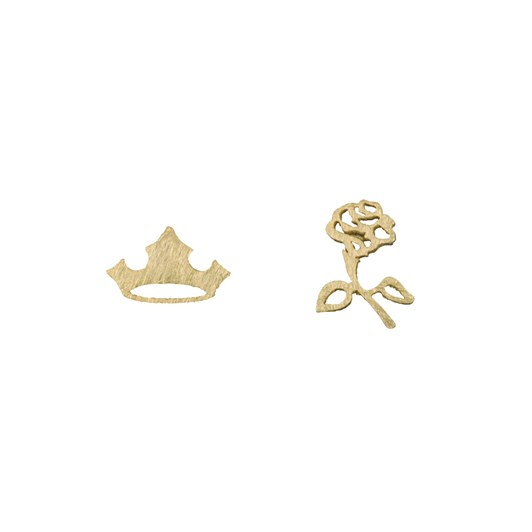 Short Story Disney Earring Aurora Flower And Crown Gold