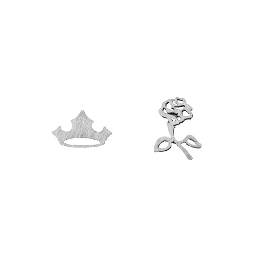 Short Story Disney Earring Aurora Flower And Crown Silver