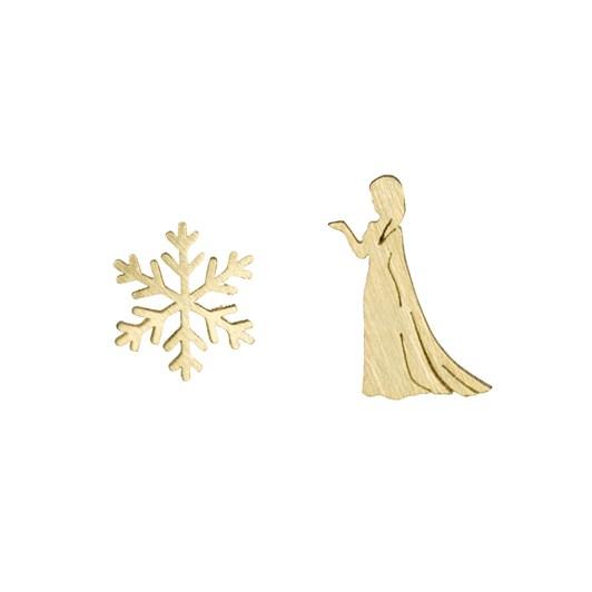 Short Story Disney Earring Elsa Snowflake Gold