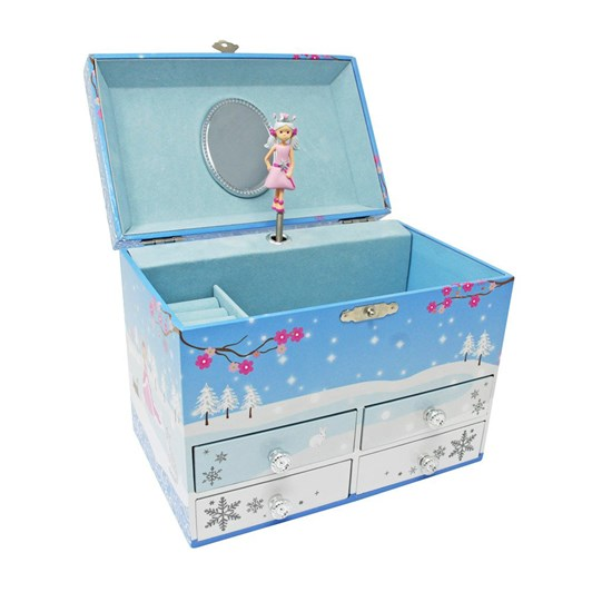 Pink Poppy Snow Princess Medium Music Box - Blue