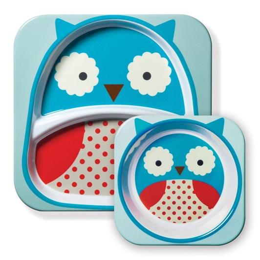 Skip Hop Zoo Melamine Plate & Bowl Set Owl