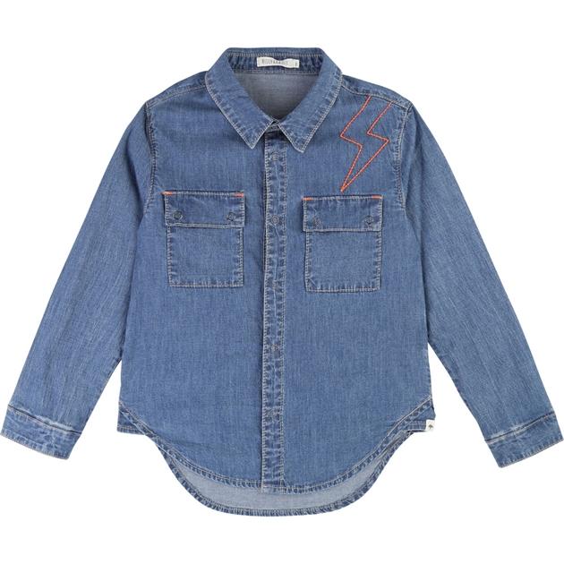 Billybandit Shirt with Press Studs 3-8 Years - denim blue