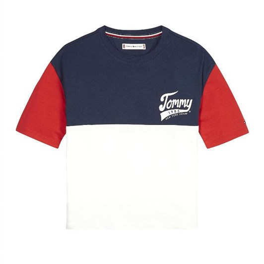 Tommy Hilfiger Colour-Blocked 1985 Logo T-Shirt 10-16 Years