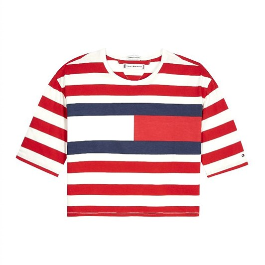Tommy Hilfiger Organic Cotton Flag Stripe Cropped T-Shirt 10-16 Years