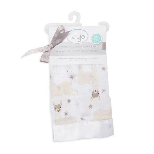 Lulujo Modern Llama Muslin Security Blanket 2 Pack