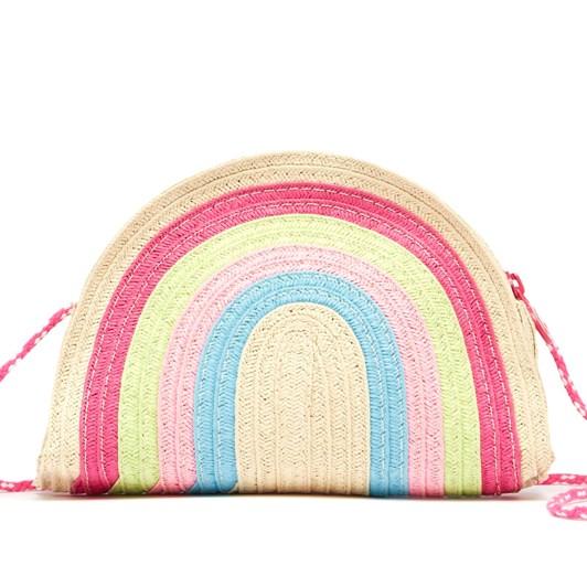 Joules Dazzle Straw Rainbow Bag