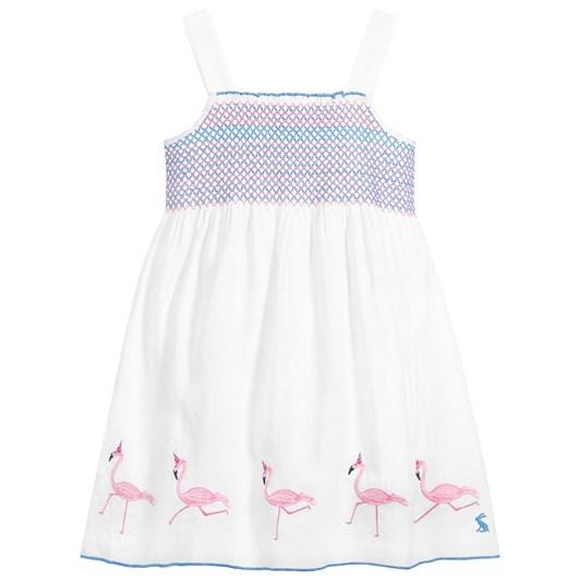 Joules Sundial White Flamingos Dress