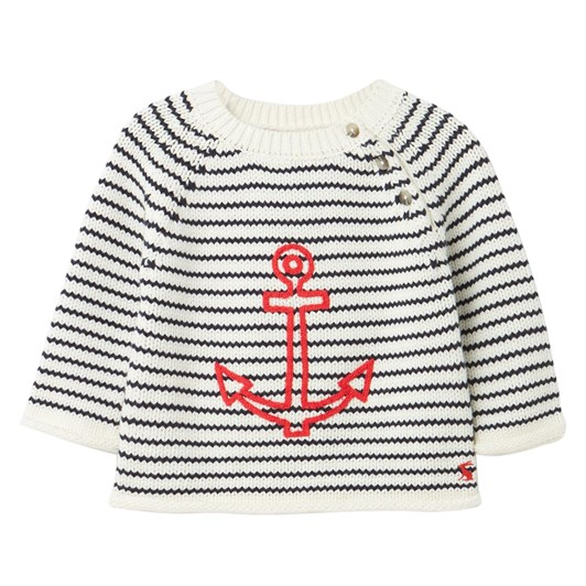 Joules Beau White Stripe Anchor Jersey