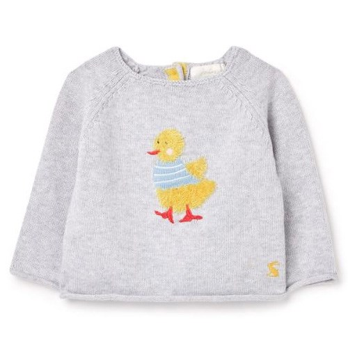 Joules The Intarsia Knit Grey Duck Top