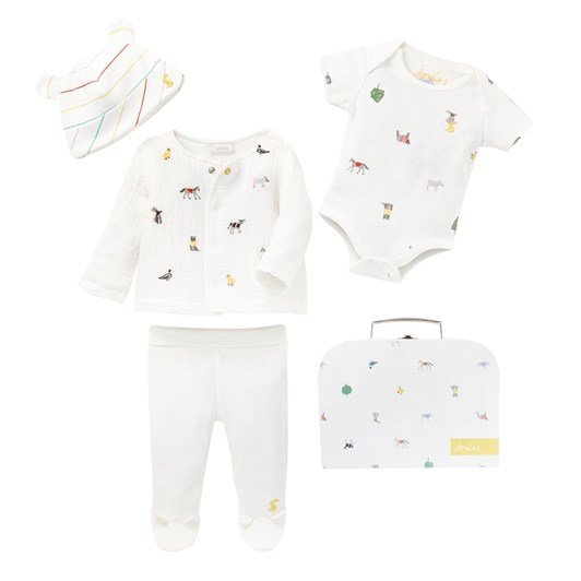 Joules My First Outfit 4 Piece White Farm Print Clothing Set