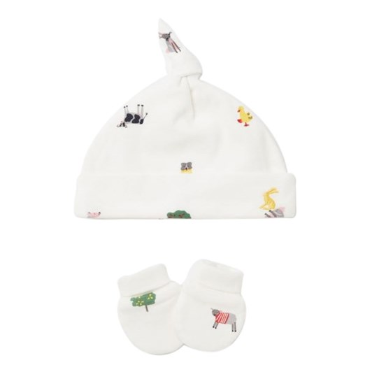 Joules The Hat And Scratch Mitt Set White Farm Print