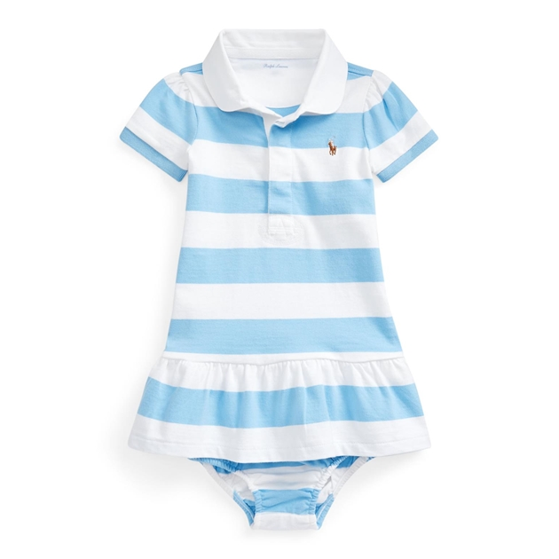 Polo Ralph Lauren Striped Rugby Dress & Bloomer - chatham blue mul