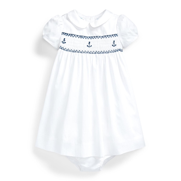 Polo Ralph Lauren Smocked Corduroy Dress - white
