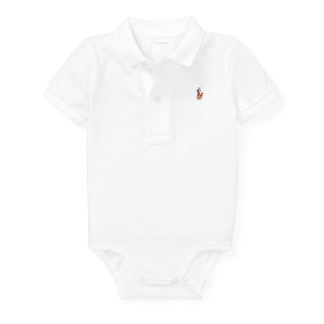 Polo Ralph Lauren Cotton Mesh Polo Bodysuit - white