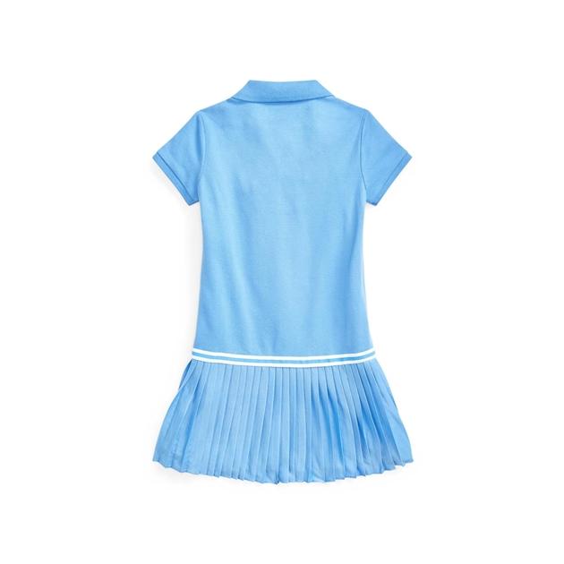 Polo Ralph Lauren Pleated Mesh Polo Dress 5-6.5Y - harbor island bl
