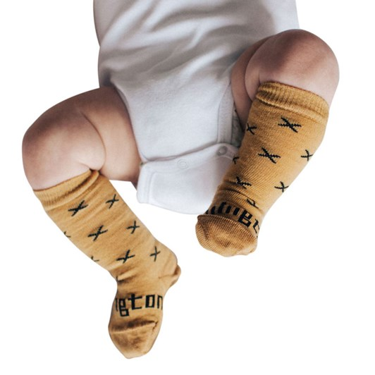 Lamington Socks Chestnut Merino Wool Knee High Socks NB-2Y
