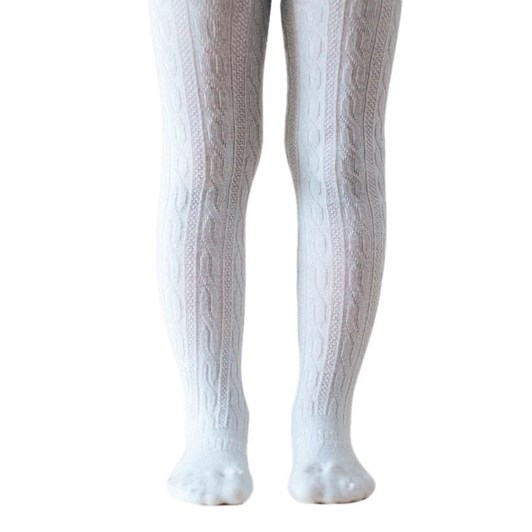 Lamington Socks Snow Grey Merino Wool Cable Tights 2-4Y