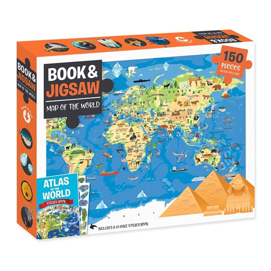 Hinkler Book & 150Pc Jigsaw - Map Of The World