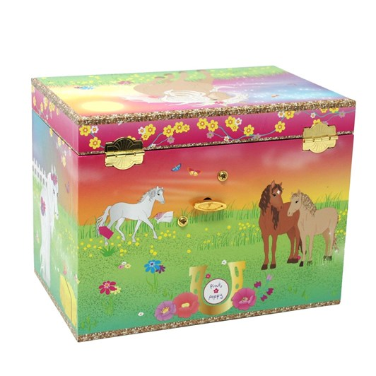 Pink Poppy Horse Meadow Medium Music Box