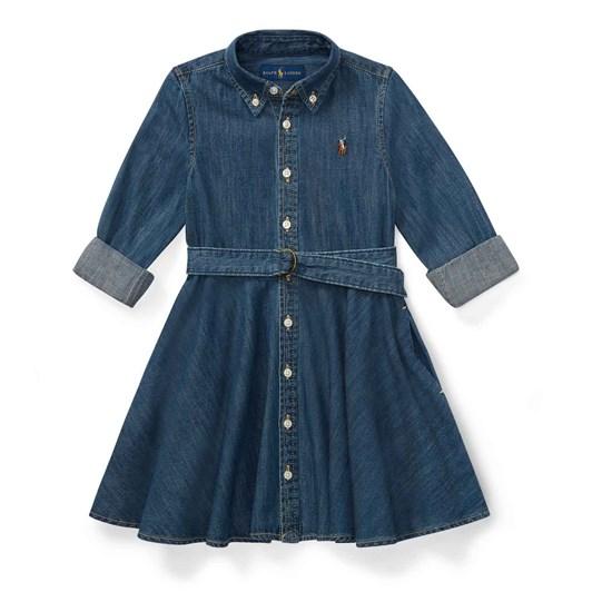 Polo Ralph Lauren Belted Cotton Denim Shirtdress 2-4Y