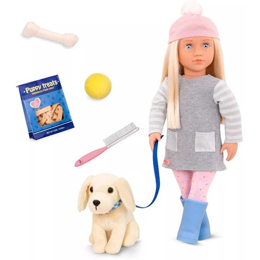 """Our Generation Dolls 18"""" Doll With Pet Dog - Megan"""