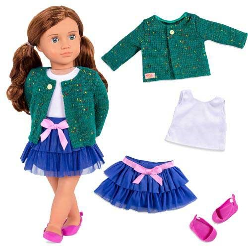 Our Generation Dolls Ruffle Skirt & Sweater Outfit