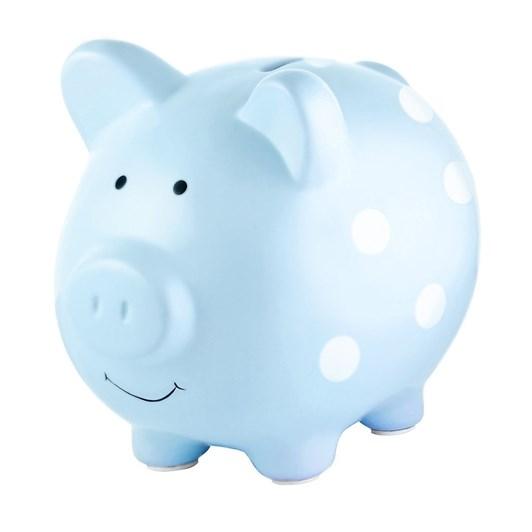 Pearhead Piggy Bank Blue Polka