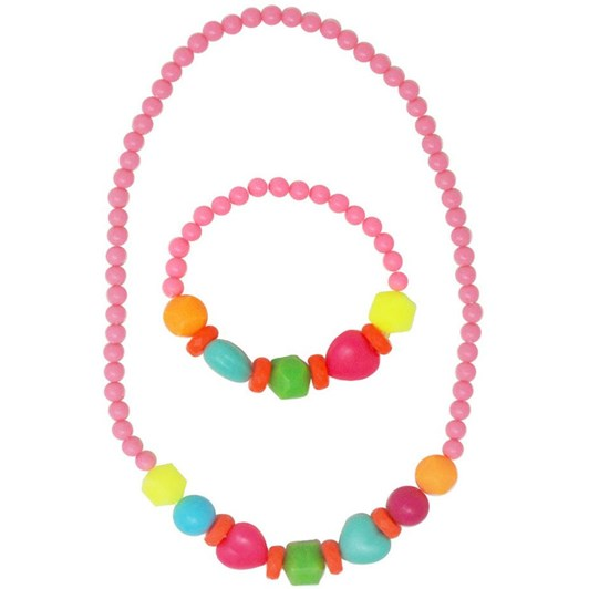 Pink Poppy Flourescent Bead Necklace & Bracelet Set